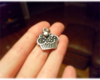 Oxidized flat carved CUPCAKE pendant necklace Custom listing