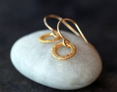Little Circle Gold Earrings, Gold Circle Drops, Gold Vermeil, Everyday Sparkle Office Wear Versatile and Chic Minimalist Jewelry