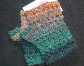 Green, Brown, Orchid Lacy Knit Fingerless Gloves