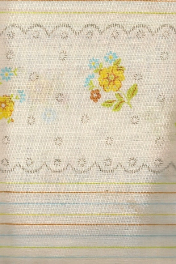 Floral Tablecloth with Stripes Yellow, Red, and Blue Flowers with Pale Green Stems and Leaves - Vintage