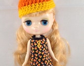 Middie Blythe Halloween Candy Corn Dress and Candy Corn Hat