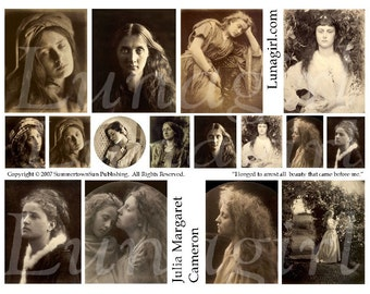 GOTHIC PHOTOS digital collage sheet Cameron vintage images sepia women faces Victorian girls altered art ephemera inchies spooky DOWNLOAD