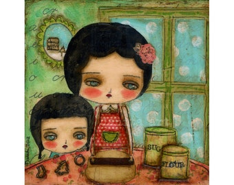 Baking Cookies - Giclee Reproduction Of Original Collage Painting By Danita Art (Paper Prints and ACEO Wood Mounted)
