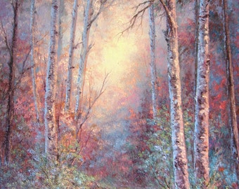 Birch Forest.  Original Fine Art, Oil Painting by Griselda Tello.