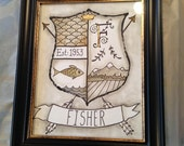 FRAMED Custom Modern Coat of Arms - Family Stone Heraldry - Home Decor Crest - Keepsakes Art With Meaning - Quotes, Sayings, Favorite Words,