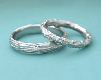 Twig Wedding Rings - Palladium 950 - Pine Branch - Set of Two