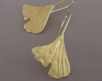 18k Yellow Gold Ginkgo Leaf Earrings