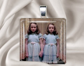Come Play with Us Danny -  Square Glass Tile Pendant - The Grady Daughters - The Shining Twins - Halloween Pendant