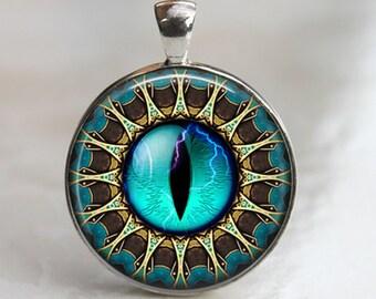 Blue Eye Mandala - Glass Pendant in Silver Bezel Setting - 30mm