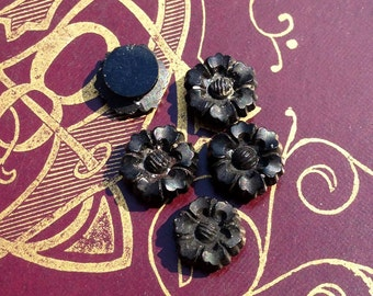 5pcs Tiny ANTIQUE MOURNING FLOWERS French Jet Glass Style B