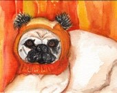 Pug painting, Pug in Candy Corn Hat Original Watercolor, 100 percent to  Charity -www.pugrescueofnewengland.org