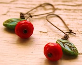 Red Poppy Earrings - Czech Glass Flower Earrings - red and green turquoise dangles