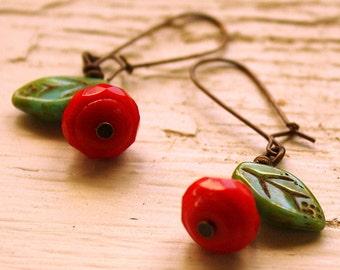 Red Poppy Earrings - Czech Glass Flower Earrings - red and green turquoise dangles