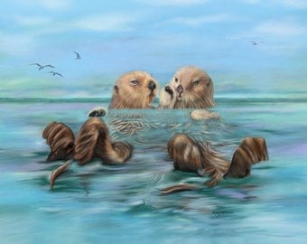 Sea Otter art Painting giclee on Canvas Sea Otters holding hands artwork blue green ocean