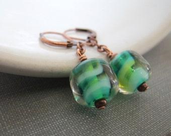 Glass Earrings, Copper Earrings, Teal Aqua Glass, Glass Earrings, Teal Green Glass, Dangle Earrings, Copper Jewelry