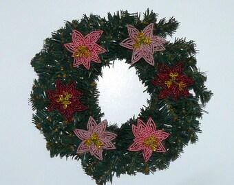 Beaded Flowers Poinsettia Holiday Wreath