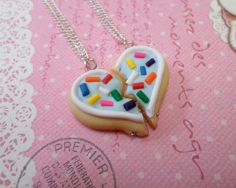 Best Friend Sugar Cookie Necklace Set, Blue Frosting with Sprinkles: BFF Jewelry, Polymer Clay