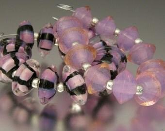 KILLERBEEDZ1 - Princess/Lavender Lights Combo - 24 Disc and Bicone Lampwork Beads