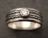 Engagement Ring - Double Twisted Wire Sterling Silver Band w/ Moissanite - Handmade in Seattle