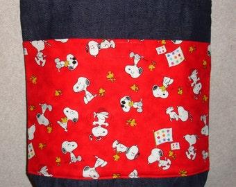 New Medium Denim Tote Bag Handmade with Snoopy on Red Background Fabric