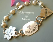 Eclectic Grandma Bracelet Mom Jewelry Childrens' Names Personalized Sterling Silver Artisan Beaded