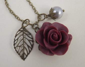 Burgundy and Gray Flower and Leaf Charm Wedding Necklace