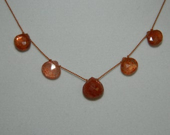 Sunstone Briolettes Knotted on Silk Cord Gemstone Necklace