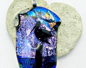 Dichroic Sea Gull Fused Glass Pendant