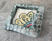 Tiny Wall Tile - Flower Plaque - Ceramic - Stoneware Pottery - Black and Yellow