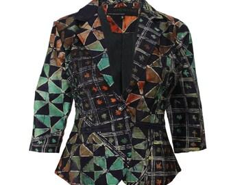 Womens Jacket,  Batik Blazer, Nigerian Cropped Jacket, Ethnic fashion, African jacket, Womens blazer, African Style, Funky jacket