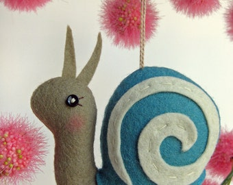 Tiny Snail Plush or Ornament in Turquoise