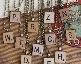 Scrabble Tile Initial Pendant Alphabet Letters