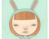 Bunny Suit I (mint), archival print of original illustration by Anna Tillett Designs