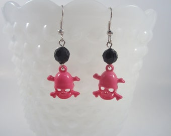 Pink  Skull and Crossbones Earrings - Punk - Rocker - Rockabilly - Pin Up Jewelry