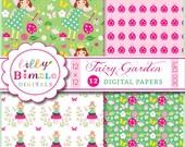 80% off Fairy Digital Scrapbook Paper, INSTANT DOWNLOAD, birthday invites, Fairy Garden, pack, fairies, Lilly Bimble