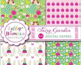 80% off Fairy Digital Scrapbook Paper, INSTANT DOWNLOAD, birthday invites, Fairy Garden, pack, fairies, Lilly Bimble