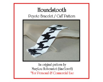 Peyote Bracelet Pattern ... HOUNDSTOOTH ... Classic . Black and White . Geometric . Tutorial . Instruction . Graph . Bold . Modern . Big