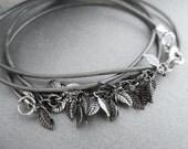 Metal Leaf Leather Wrap Bracelet