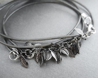 Metal Leaf Leather Wrap Bracelet, wrap bracelet, leather bracelet, long bracelet, leaf chain jewelry,
