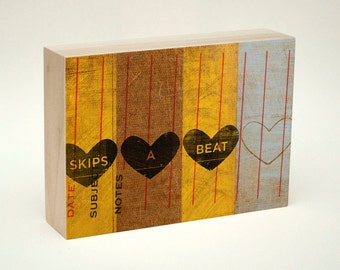 """Valentines Gift for Him- Husband Gift- Heart Sign- Anniversary Gifts for Him- Gift for Wife- Heart Art- Skips A Beat Wood Art Box- 5"""" x 7"""""""