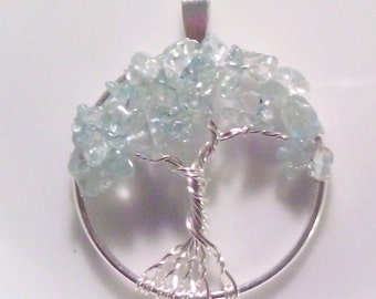 Tree of Life Pendant Necklace - Ice Blue Topaz - Wire Wrapped Silver - Medium Size - December Birthstone