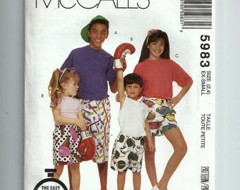 McCall's Children's Boys' and Girls' Boxer Shorts Pattern 5983