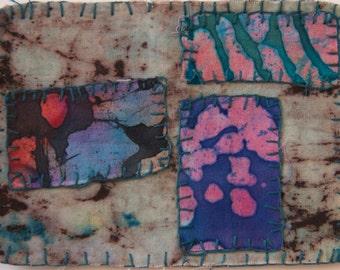fiber mixed media embroidered batik grey pink fuschia purple rectangle appliques wall art frameable art OOAK  primitive