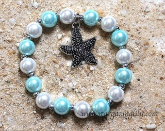 Starfish Charm Bracelet Personalized Name bracelet Summer Beach Party Favor Blue White Pearls YOU CHOOSE COLOR