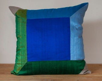 """Cube Throw Pillow in Cool - 20"""" Color Block Pillow - LAST ONE!"""
