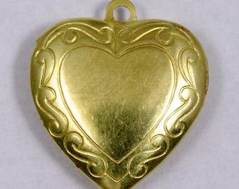 20mm Brass Heart Locket #1350