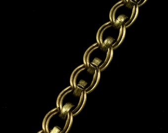Antique Brass, 7mm x 6mm Double Oval Chain #CC169