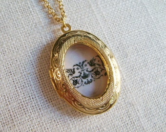 CLEARANCE . tapestry . white . gold . scandinavian folk art inspired graphic shadow locket . LAST ONE