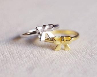 tiny bow ring . ribbon ring . stackable bow ring . bowtie ring . delicate bow ring . cute bow ring // 4SWTL