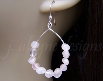 Rose Quartz Earrings. Pebble Earrings. Teardrop Earrings. Pink Quartz Earrings. Pink Bridesmaid Earrings. Pink Wedding